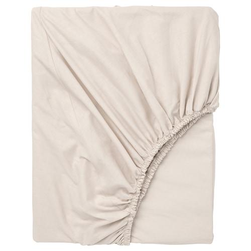DVALA fitted sheet beige 152 /inch² 200 cm 90 cm
