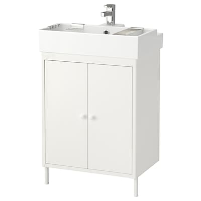 DYNAN / LILLÅNGEN Washbasin cabinet with 2 doors, white/Ensen tap, 61x41x91 cm