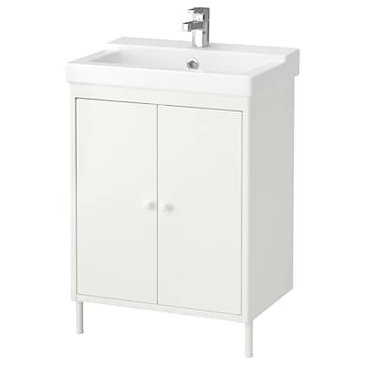 DYNAN / TÄLLEVIKEN Washbasin cabinet with 2 doors, white/Ensen tap, 61x41x86 cm