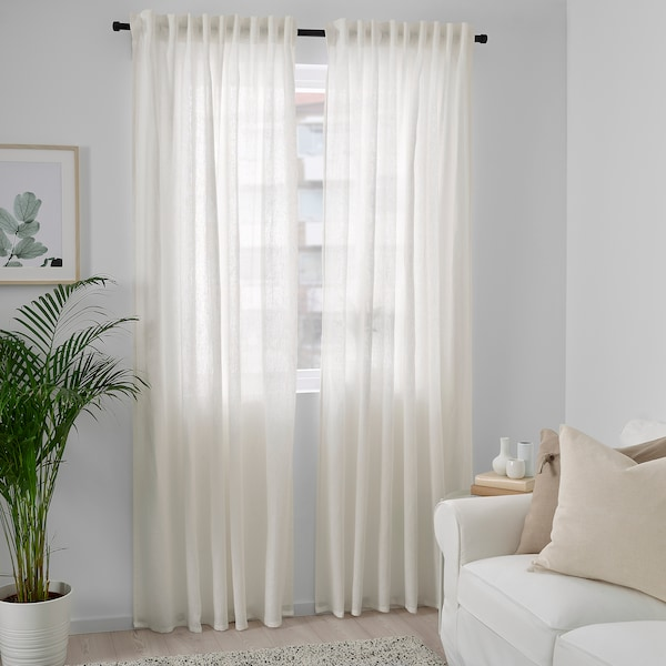 DYTÅG Curtains, 1 pair, white, 145x250 cm