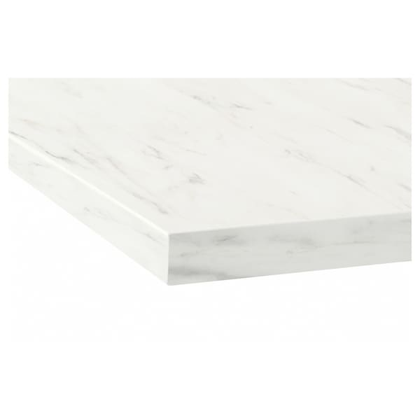 EKBACKEN Worktop, white marble effect/laminate, 246x2.8 cm