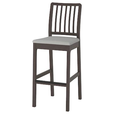 EKEDALEN Bar stool with backrest, dark brown/Orrsta light grey, 75 cm