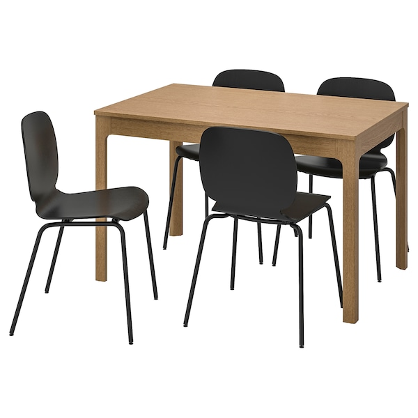 EKEDALEN / SVENBERTIL Table and 4 chairs, oak/black, 120/180 cm