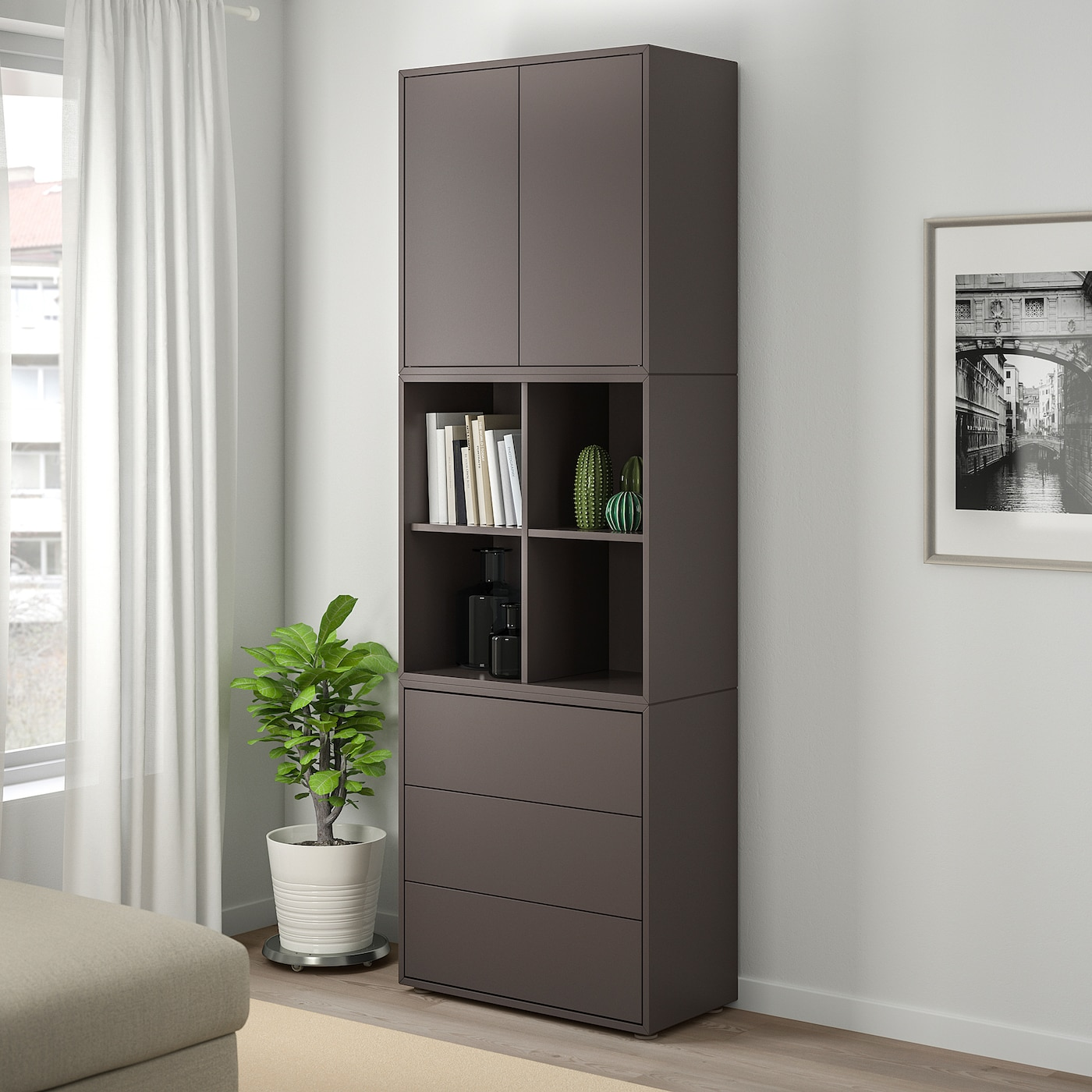 EKET Cabinet combination with feet, dark grey, 70x35x212 cm