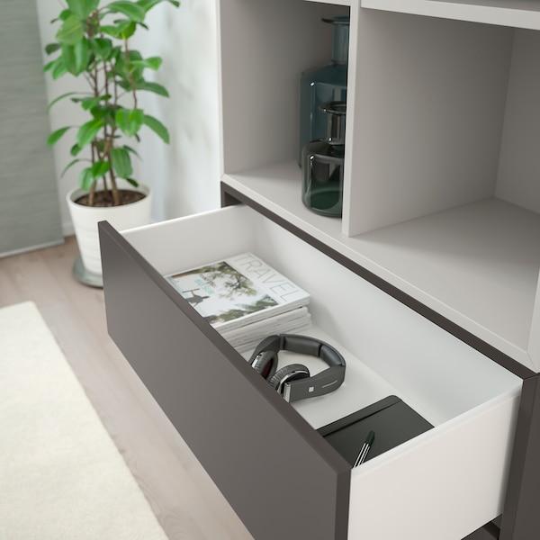 EKET Cabinet combination with feet, white/light grey/dark grey, 70x35x212 cm