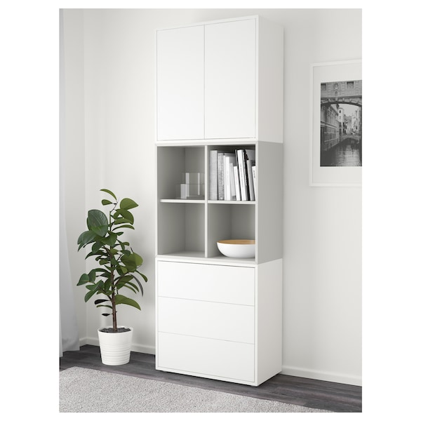 EKET Cabinet combination with feet, white/light grey, 70x35x212 cm