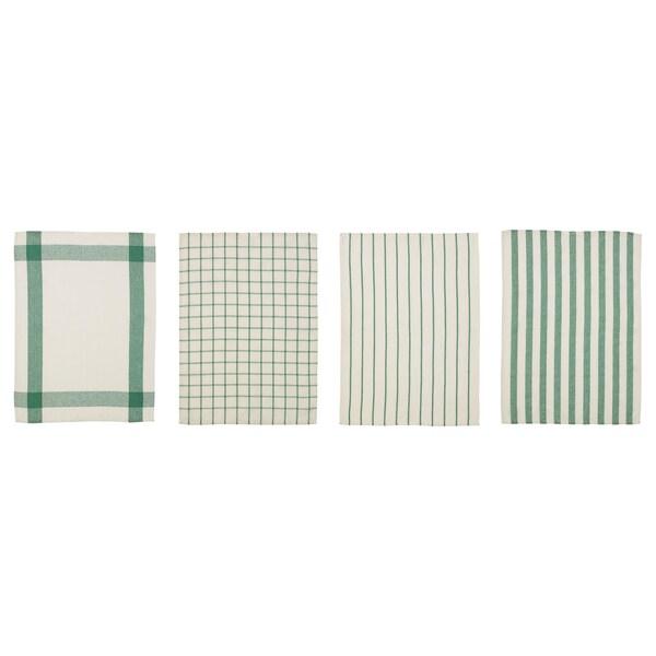 ELLY Tea towel, white/green, 50x65 cm