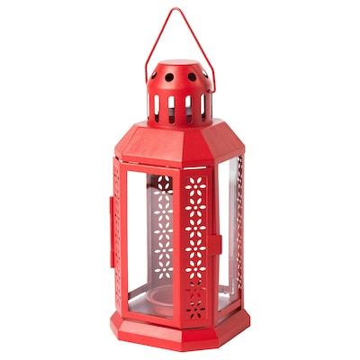 ENRUM Lantern for tealight, in/outdoor red, 22 cm
