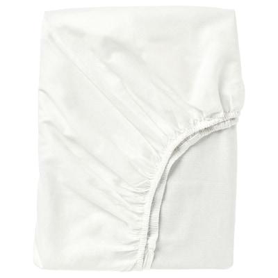 FÄRGMÅRA Fitted sheet, white, 90x200 cm