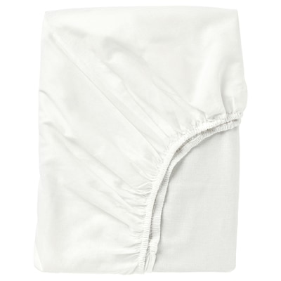 FÄRGMÅRA Fitted sheet, white, 150x200 cm