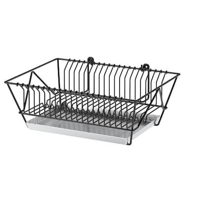 FINTORP Dish drainer, black/galvanised, 37.5x29x13.5 cm