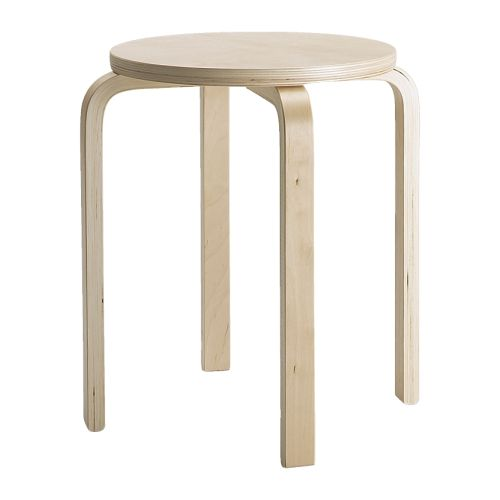 FROSTA Stool   The stool can be stacked, so you can keep several on hand and store them on the same space as one.