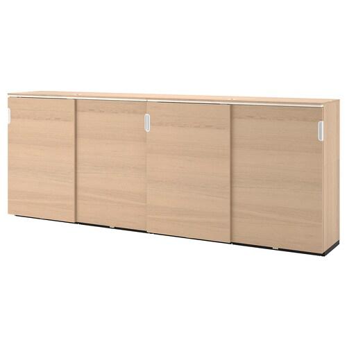 GALANT storage combination w sliding doors white stained oak veneer 320 cm 45 cm 120 cm 30 kg