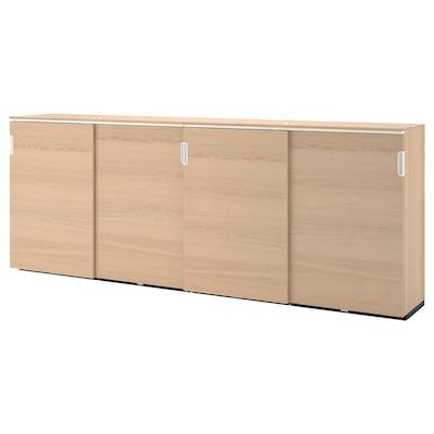 GALANT Storage combination w sliding doors, white stained oak veneer, 320x120 cm