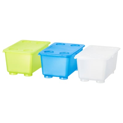 GLIS Box with lid, white/light green/blue, 17x10 cm