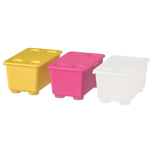 GLIS box with lid pink/white/yellow 17 cm 10 cm 8 cm 3 pieces