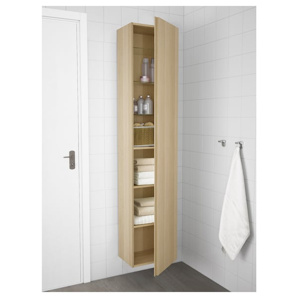 GODMORGON High cabinet, white stained oak effect, 40x32x192 cm