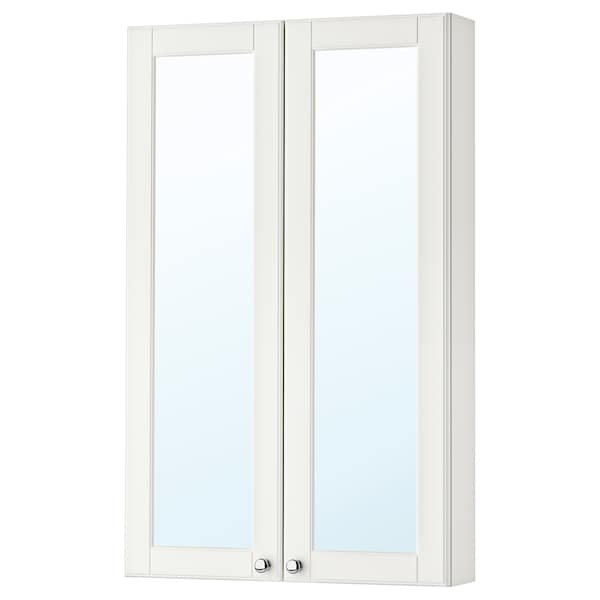 GODMORGON Mirror cabinet with 2 doors, Kasjön white, 60x14x96 cm