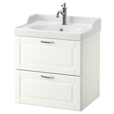 GODMORGON / RÄTTVIKEN Wash-stand with 2 drawers, Kasjön white/Hamnskär tap, 62x49x68 cm