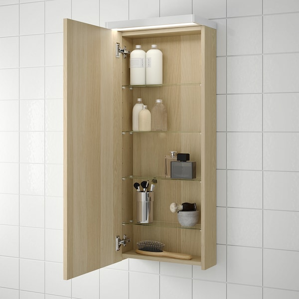 GODMORGON Wall cabinet with 1 door, white stained oak effect, 40x14x96 cm