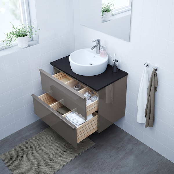 GODMORGON Wash-stand with 2 drawers, high-gloss grey, 80x47x58 cm