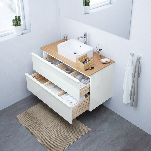 GODMORGON Wash-stand with 2 drawers, high-gloss white, 100x47x58 cm