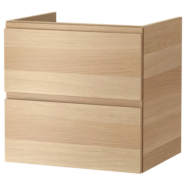 GODMORGON Wash-stand with 2 drawers, white stained oak effect, 60x47x58 cm