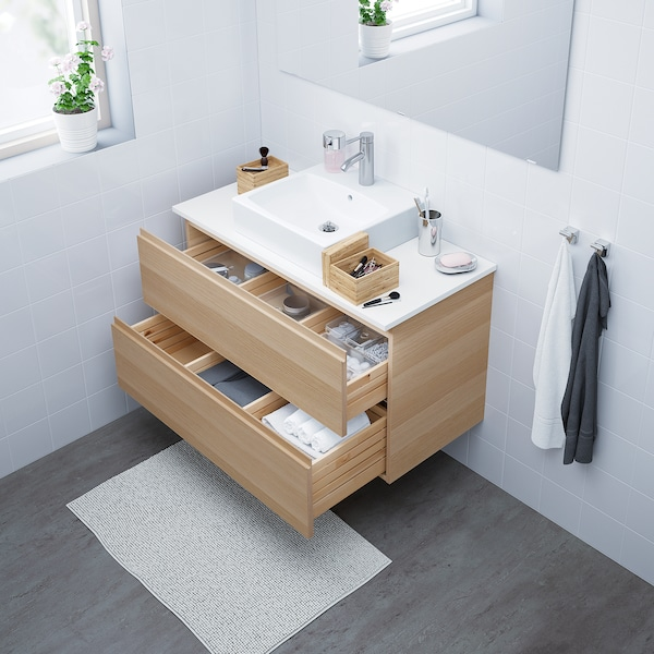 GODMORGON Wash-stand with 2 drawers, white stained oak effect, 100x47x58 cm