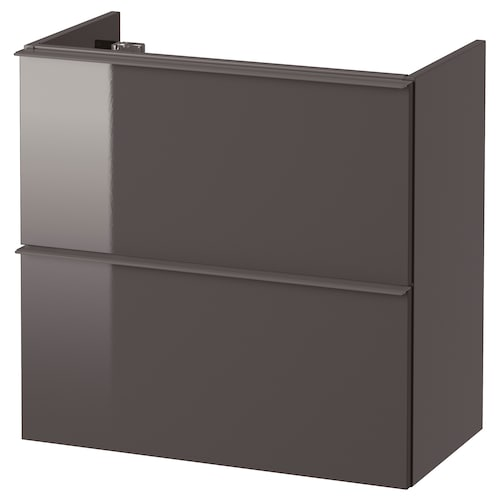 GODMORGON wash-stand with 2 drawers high-gloss grey 60 cm 32 cm 58 cm