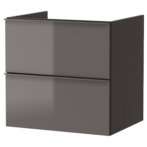GODMORGON wash-stand with 2 drawers high-gloss grey 60 cm 47 cm 58 cm