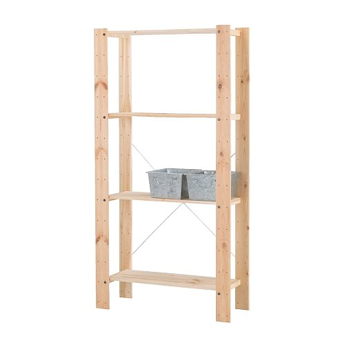 GORM Shelving unit   Untreated wood; can be treated with oil or glazing paint for a personal touch and a more durable surface.