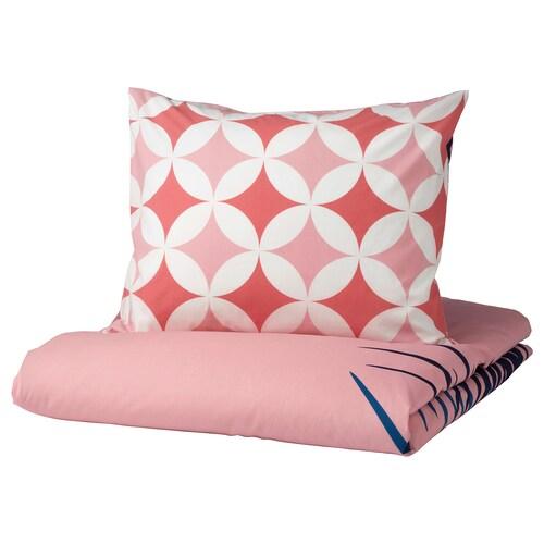 GRACIÖS quilt cover and pillowcase tile pattern/pink 200 cm 150 cm 50 cm 80 cm