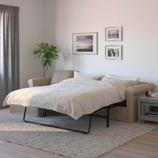 GRÖNLID 3-seat sofa-bed, with chaise longue/Sporda natural