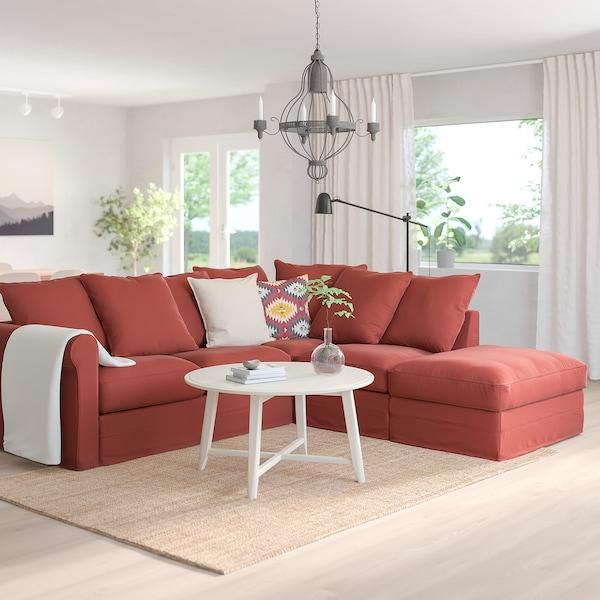 GRÖNLID Corner sofa, 4-seat, with open end/Ljungen light red