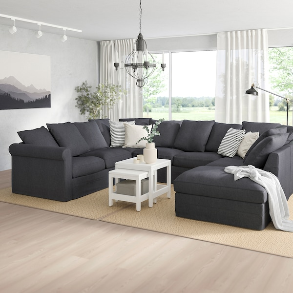 GRÖNLID U-shaped sofa, 6 seat, with open end/Sporda dark grey