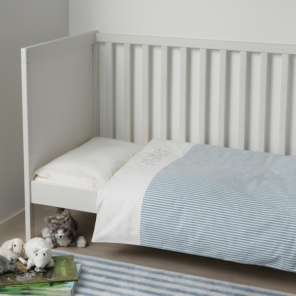 GULSPARV Quilt cover/pillowcase for cot, striped/blue, 110x125/35x55 cm