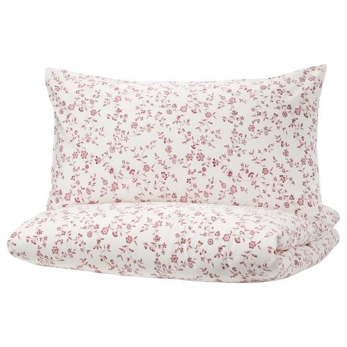 HÄSSLEKLOCKA quilt cover and 4 pillowcases white/pink 152 /inch² 4 pieces 220 cm 240 cm 50 cm 80 cm