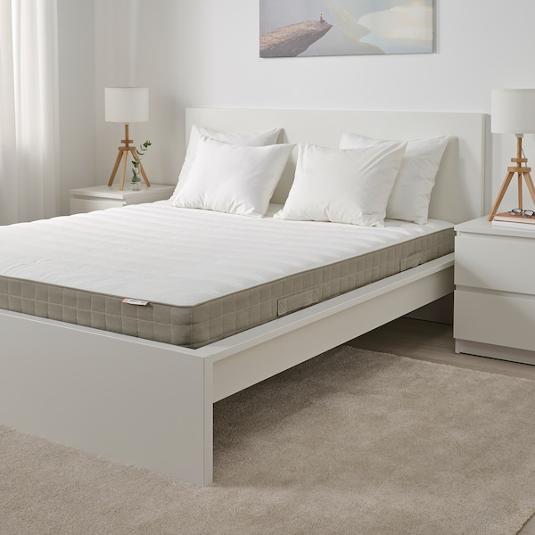 HAMARVIK Sprung mattress, firm/dark beige, 180x200 cm