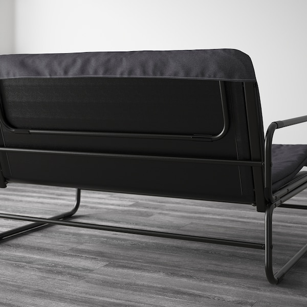 HAMMARN Sofa-bed, Knisa dark grey/black, 120 cm