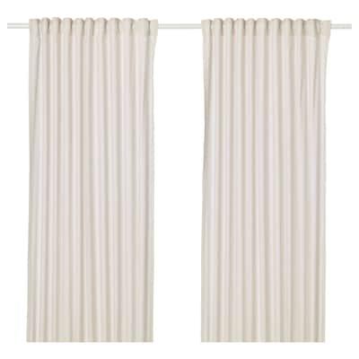 HANNALILL Curtains, 1 pair, beige, 145x250 cm