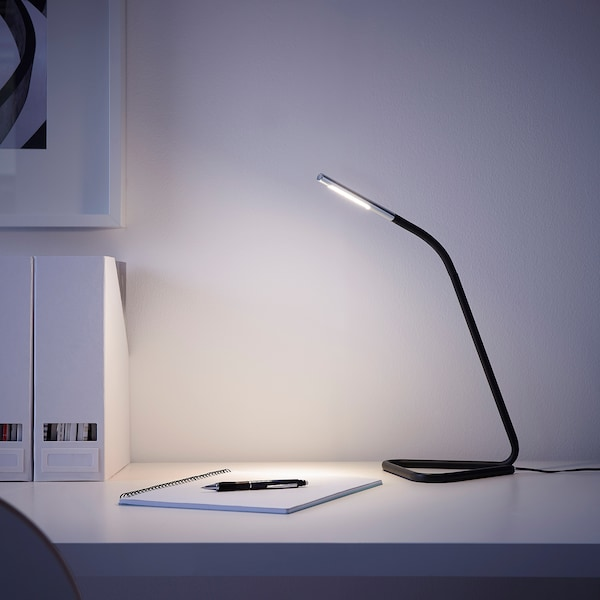 HÅRTE LED work lamp, black/silver-colour