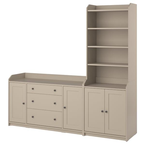 HAUGA Storage combination, beige, 210x46x199 cm