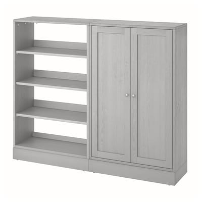 HAVSTA Storage combination, grey, 162x37x134 cm