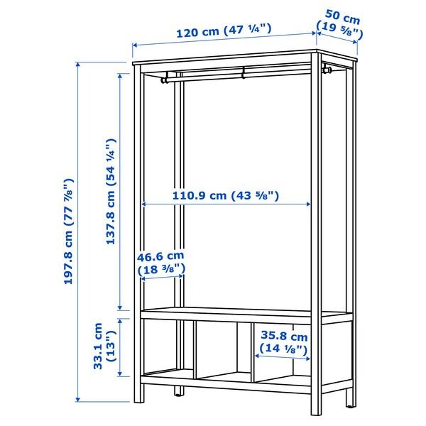 HEMNES open wardrobe white stained 120 cm 50 cm 197 cm