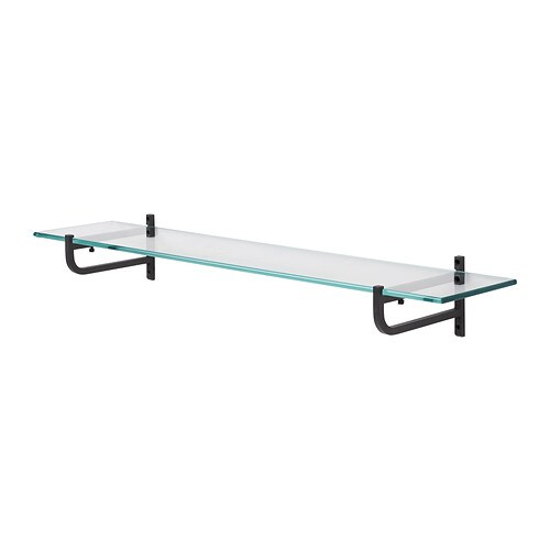 HJÄLMAREN Glass shelf   Shelves of tempered glass; has higher impact resistance and load-bearing capacity than ordinary glass.