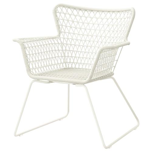 HÖGSTEN chair with armrests, outdoor white 73 cm 65 cm 83 cm 38 cm 48 cm 42 cm