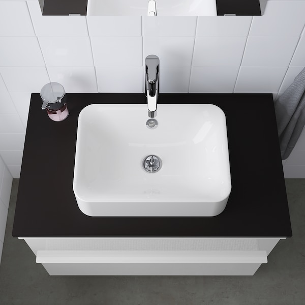 HÖRVIK Countertop wash-basin, white, 45x32 cm