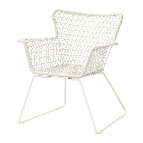 HÖGSTEN Chair with armrests, outdoor   Hand-woven plastic rattan looks like natural rattan but is more durable for outdoor use.