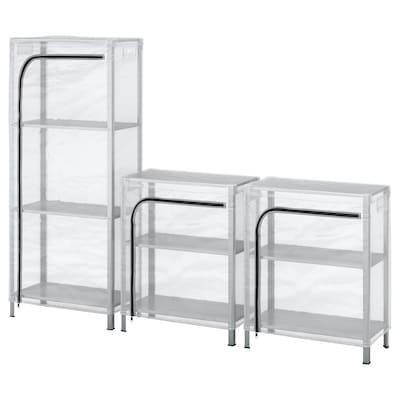HYLLIS Shelving units with covers, transparent, 180x27x74-140 cm
