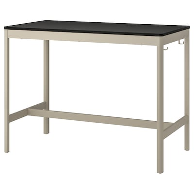 IDÅSEN Table, black/beige, 140x70x105 cm